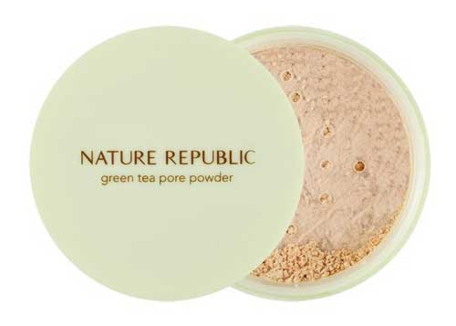 Bedak untuk kulit berminyak - Nature Republic Green Tea Pore Powder