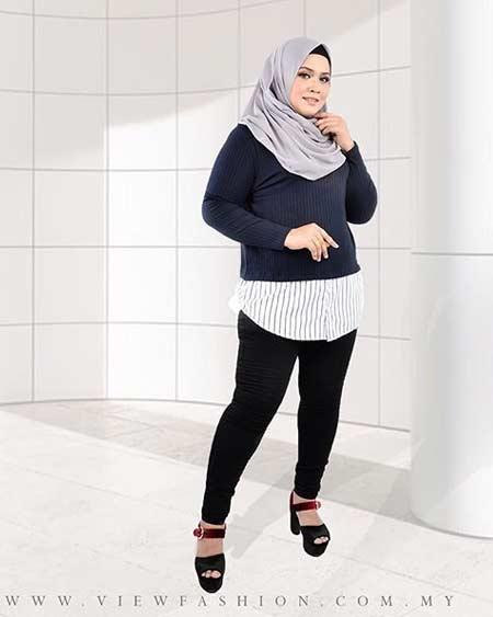 Busana muslim two pieces untuk wanita gemuk
