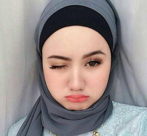 Hijab motif polos untuk wanita gemuk