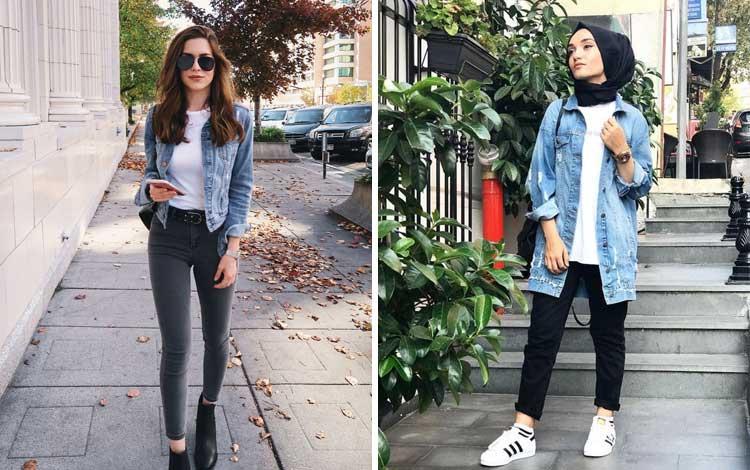 Fashion style kekinian anak muda dengan jaket denim