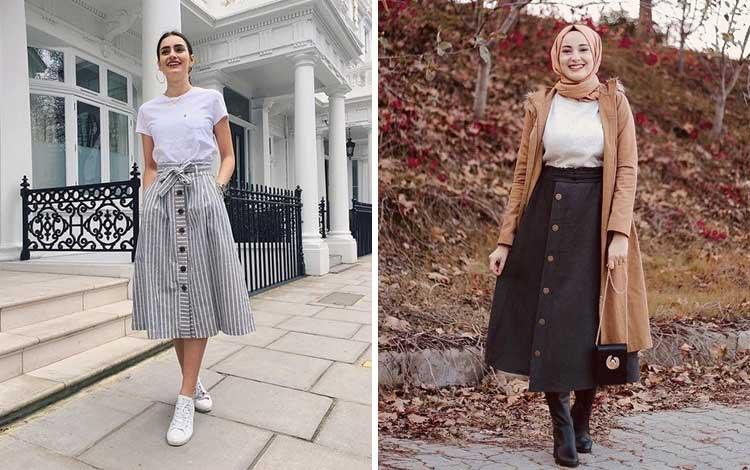 Fashion style kekinian anak muda dengan midi skirt middle buttons