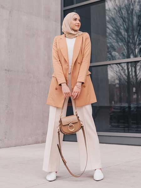 Inspirasi blazer wanita - longline blazer untuk hijaber