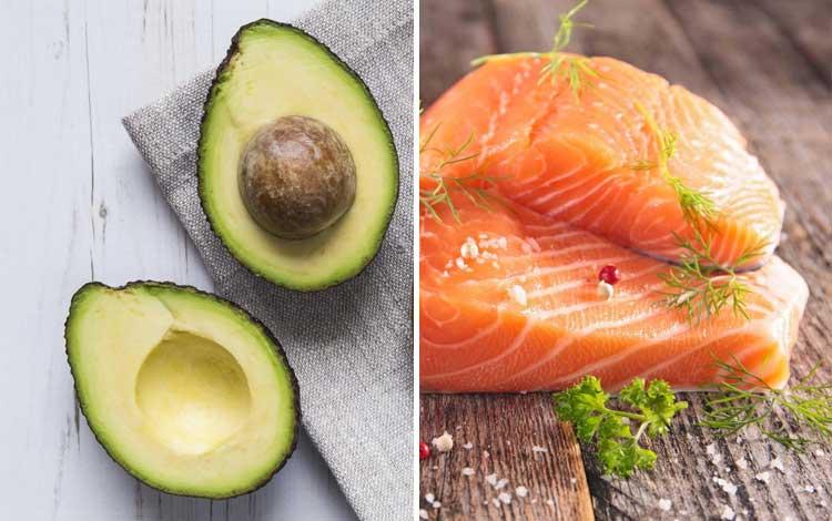Makanan yang bagus untuk kulit berjerawat - alpukat, ikan salmon
