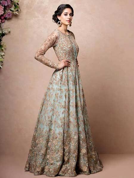 Baju pengantin modern dengan gaun bermotif floral warna cokelat