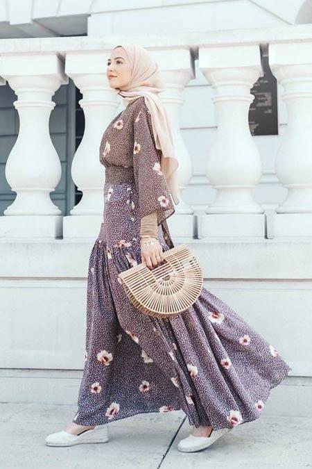 Model baju gamis motif bunga
