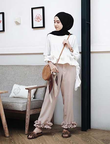 OOTD hijab dengan blouse putih