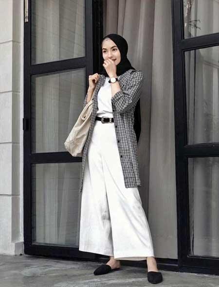 OOTD hijab dengan kemeja longline kotak-kotak  dan celana A-line