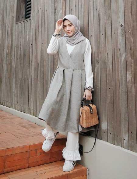 OOTD hijab terbaik dengan vest outer