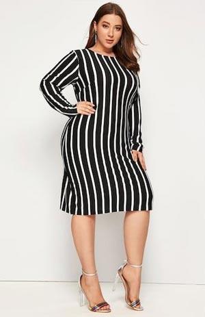 Outfit bermotif garis-vertikal untuk wanita gemuk