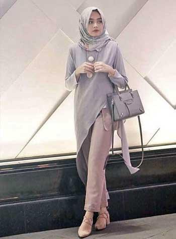 Style kondangan hijab dengan celana skinny dan asimetris top