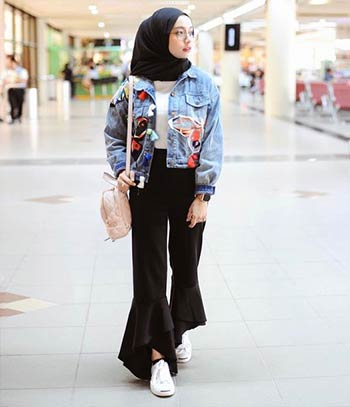 mix and match jaket denim wanita