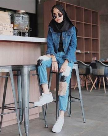 ootd jaket dan celana jeans hijab