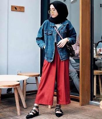 ootd jaket jeans wanita hijab kekinian