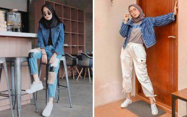 OOTD style jaket jeans dengan hijab