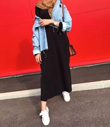 Style jaket jeans wanita hijab