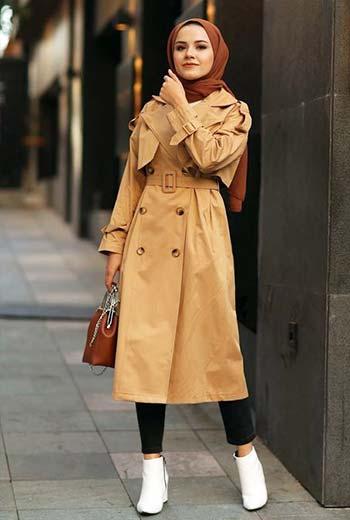 Camel coat hijab