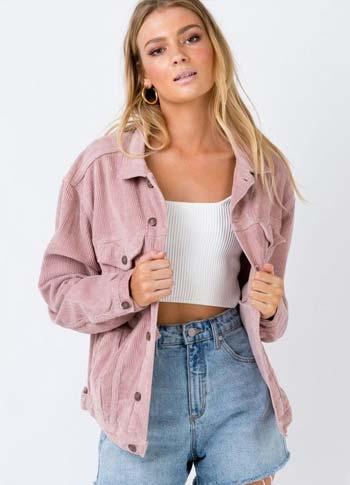 Cord jacket wanita