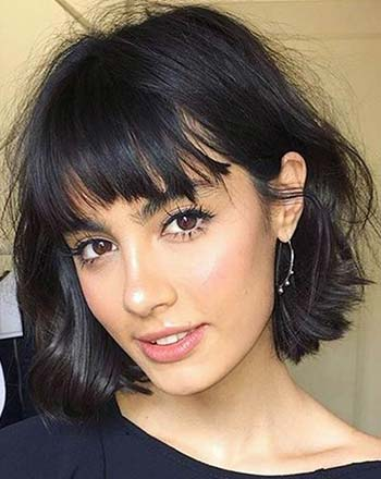 Model rambut wave bob with bangs