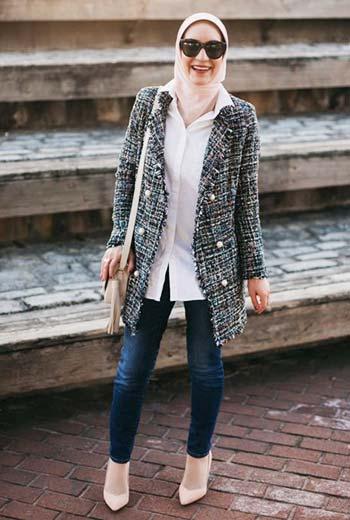 Tweed jacket wanita
