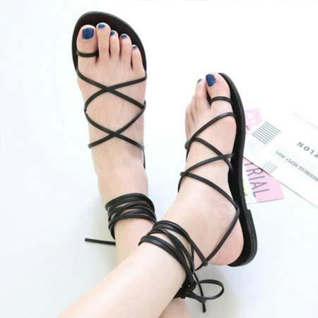 Sandal flat wanita tali gladiator
