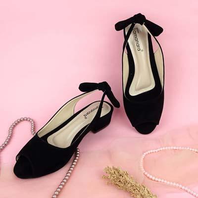 Sepatu peep toe flat wanita