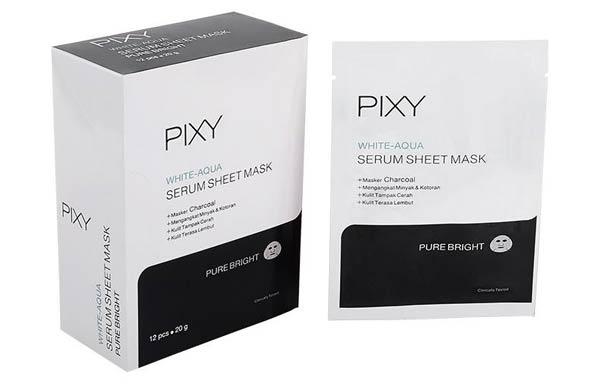 Pixy White Aqua Serum Sheet Mask Pure Bright Charcoal