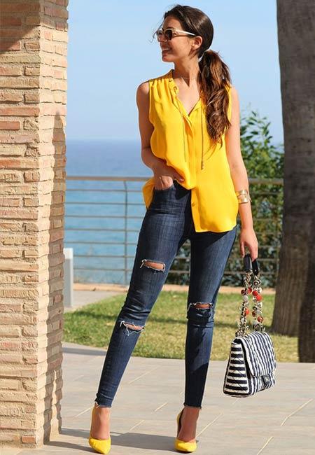 Ripped skinny jeans wanita