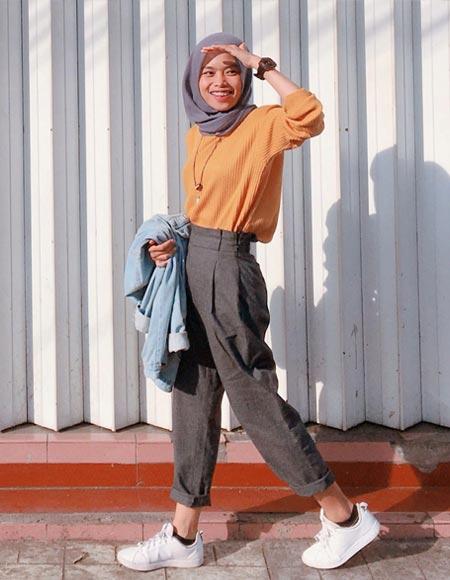 OOTD celana baggy hijab