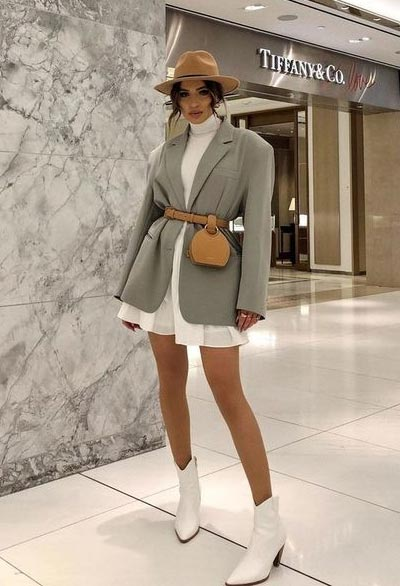 OOTD blazer dan ikat pinggang
