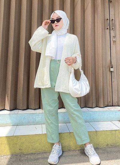 Outfit Hijab Outer Rajut Kekinian