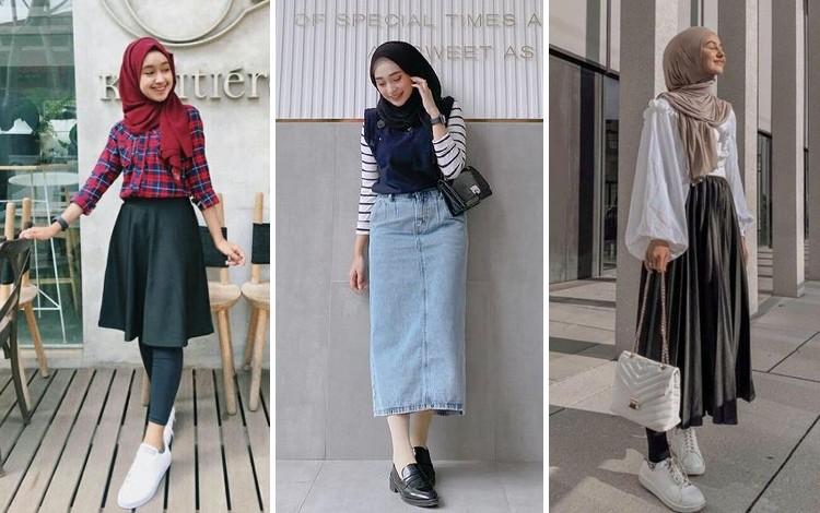 Inspirasi OOTD Hijab Dengan Rok Midi Agar Postur Tubuh Tampak Tinggi
