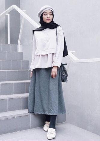 OOTD Hijab Dengan Rok Midi